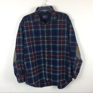 100% Virgin Wool Flannel Shirt with Elbow Patches